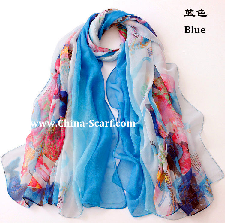 Autumn chiffon silk scarf wholesale - www.China-Scarf.com