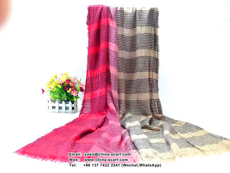 Double color female stitching cotton scarf wholesale, www.china-scarf.com