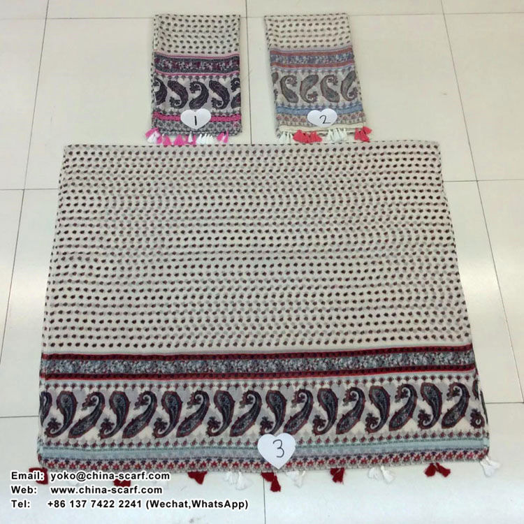 Female cashew flowers on both sides cotton scarf wholesale, www.china-scarf.com