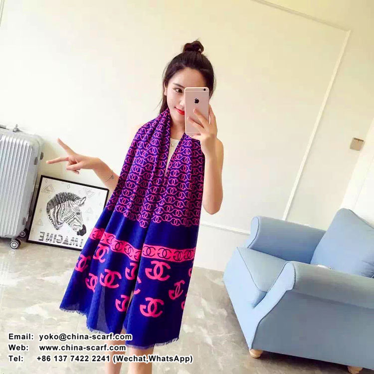 Female chanel design cotton long scarf wholesale, www.china-scarf.com
