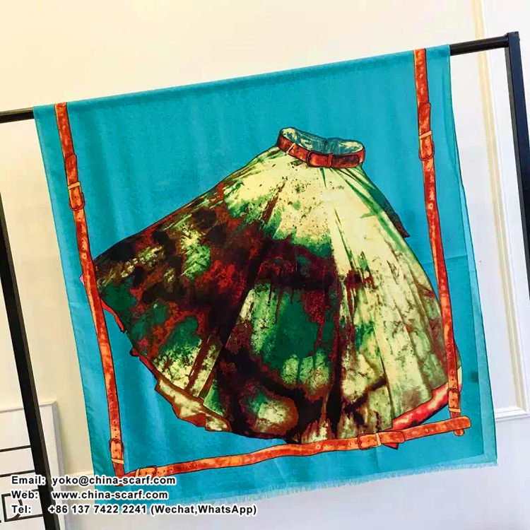 Female color skirt pattern painting cotton long scarf wholesale, www.china-scarf.com