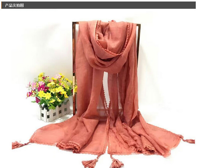 Female cotton manual lace changed scarf wholesale, www.china-scarf.com