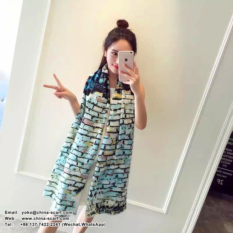 Female painting pattern cotton long scarf wholesale, www.china-scarf.com