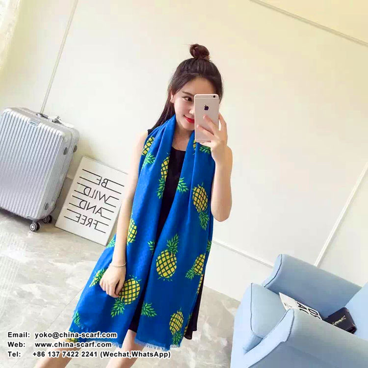 Female pineapple pattern cotton scarf wholesale, www.china-scarf.com