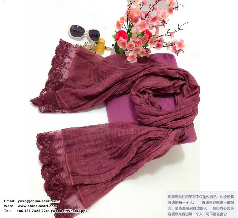 Lace cycling prevented bask cotton linen scarf women scarves wholesale, www.china-scarf.com