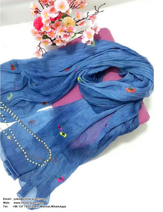 Large national silk female embroidered scarf wholesale, www.china-scarf.com