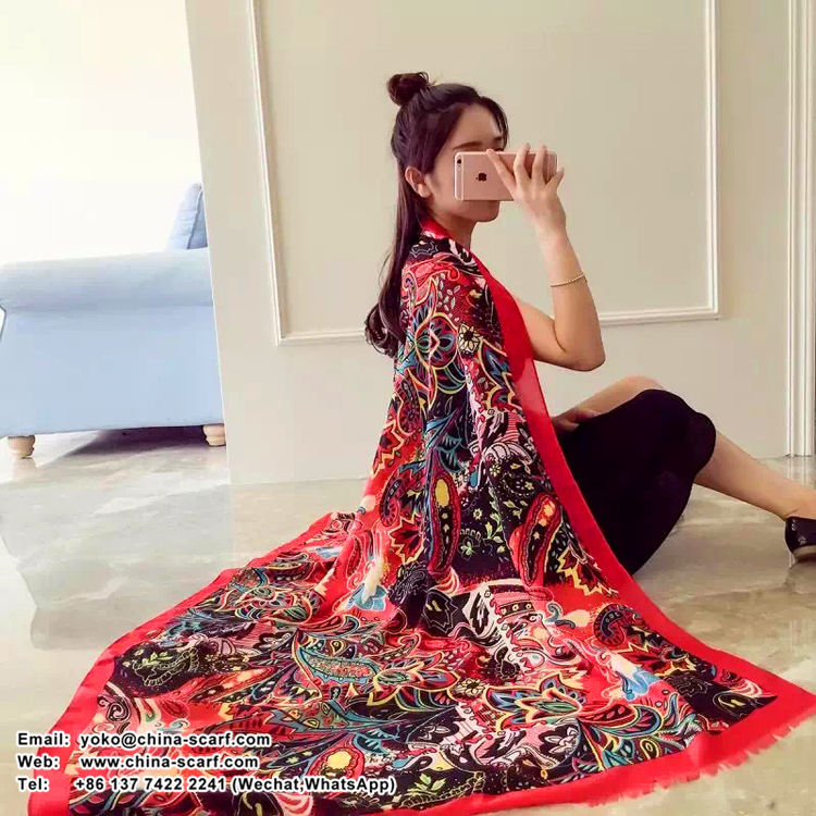 Madam butterfly pattern cotton long scarf wholesale, www.china-scarf.com