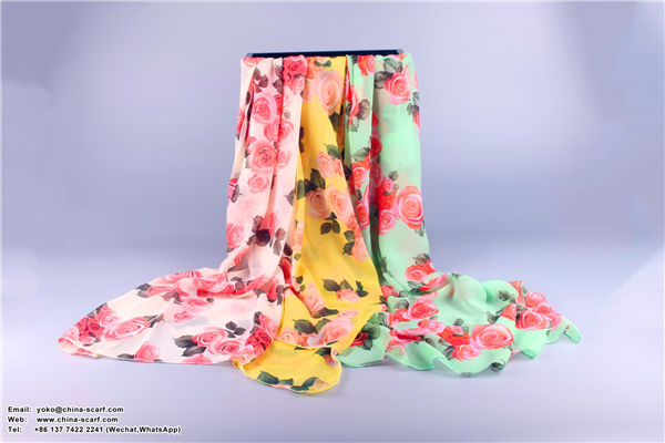 Autumn and winter scarves chiffon rose beach towel sun protection long section Scarf Factory direct sales, www.china-scarf.com
