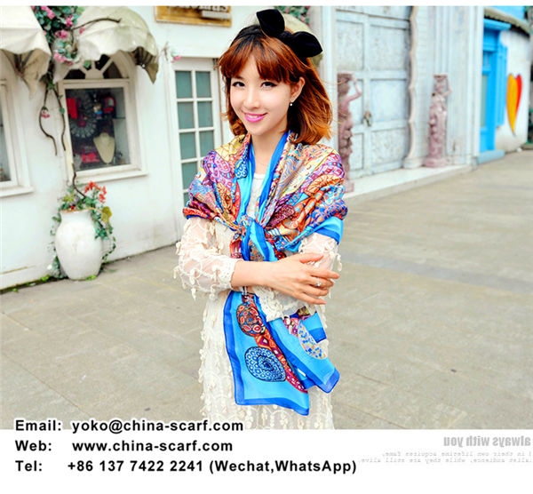 Autumn thin section satin chiffon printed lady oversized shawl scarves wholesale, www.china-scarf.com