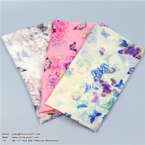 Butterfly Beach sun protection large size Chiffon scarves, www.china-scarf.com