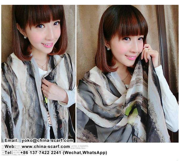 Cheap summer scarves chiffon Scarf fashion wild printed silk shawl factory wholesale multicolor option, www.china-scarf.com
