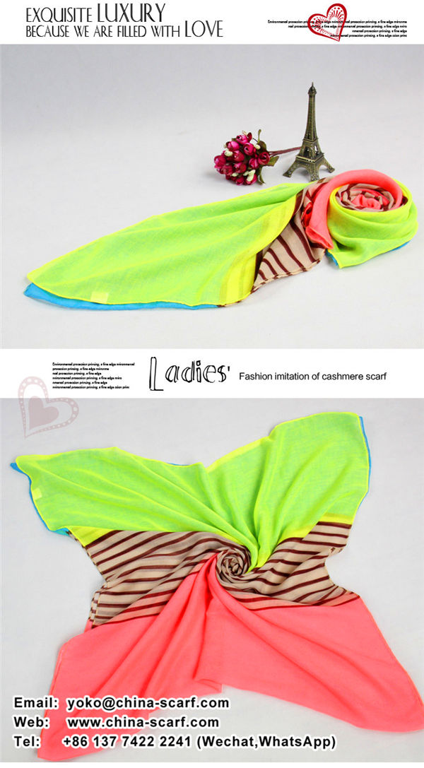 Spring voile Scarf wild fashion stripes printing mixed colors female scarf shawl Cheap Wholesale, www.china-scarf.com