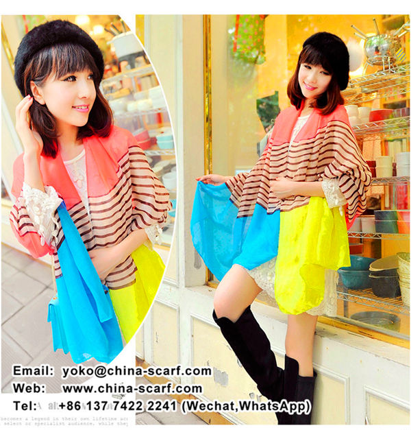 Cheap voile Scarf Spring wild fashion stripes mixed colors printing ladies scarf shawl Wholesale, www.china-scarf.com