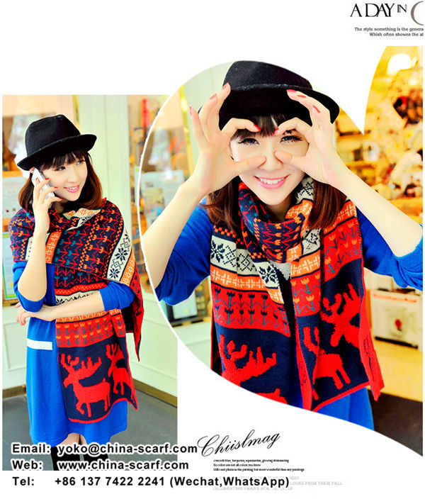 Christmas deer pattern keep warm in winter wool scarves Korean fashion double knit scarf female thickening, www.china-scarf.com