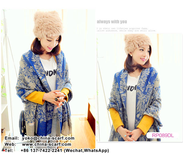 Fall Winter fashion fringed ethnic style Jacquard warm shawls woman scarf Wholesale, www.china-scarf.com