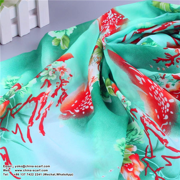 Female summer long section of large size beach towel sun protection flowers Scarf, www.china-scarf.com