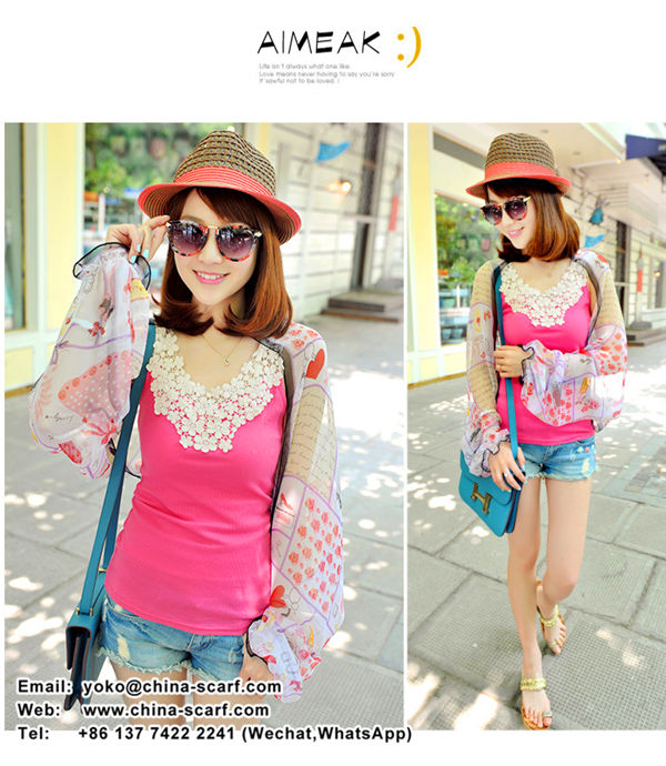 Female summer sun protection cardigan, sun protection long sleeve shawl, Chiffon slim shawl wholesale cycling sun shade, www.china-scarf.com