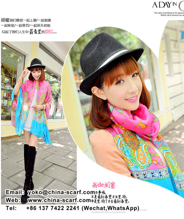 Large high-grade silk shawl chiffon scarf cashew flowers printed scarves wholesale, www.china-scarf.com