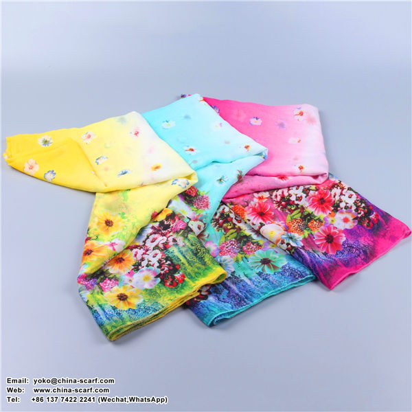 Long section sun protection romantic flowers chiffon beach scarves wholesale, www.china-scarf.com