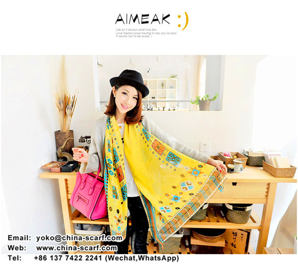 New fall Chiffon scarves wholesale Simulation Silk Scarf fashion wild beach towel, www.china-scarf.com