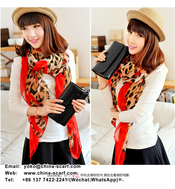 Spring European fashion leopard printed voile scarves warm shawl wholesale large Scarf, www.china-scarf.com