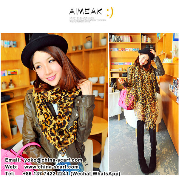 Spring large animal pattern chiffon scarves European and American big leopard print scarf shawl Wholesale, www.china-scarf.com