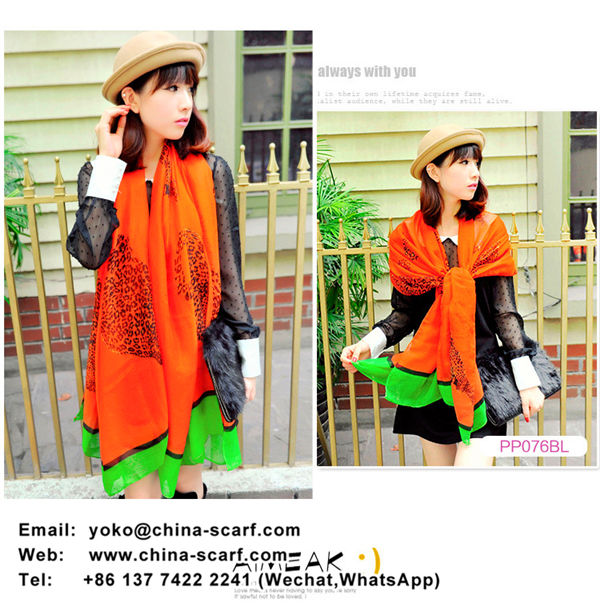 Spring new collision color classic leopard grain print scarf shawl wholesale, www.china-scarf.com
