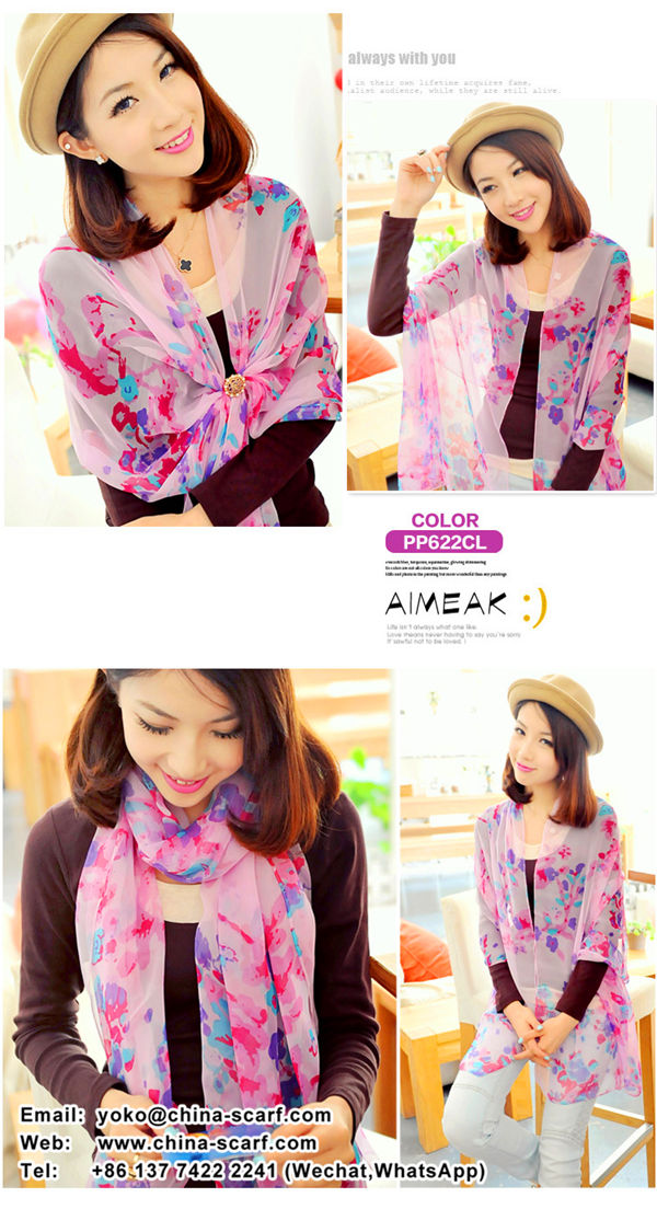Spring new products Women chiffon printed scarves spot wholesale, www.china-scarf.com