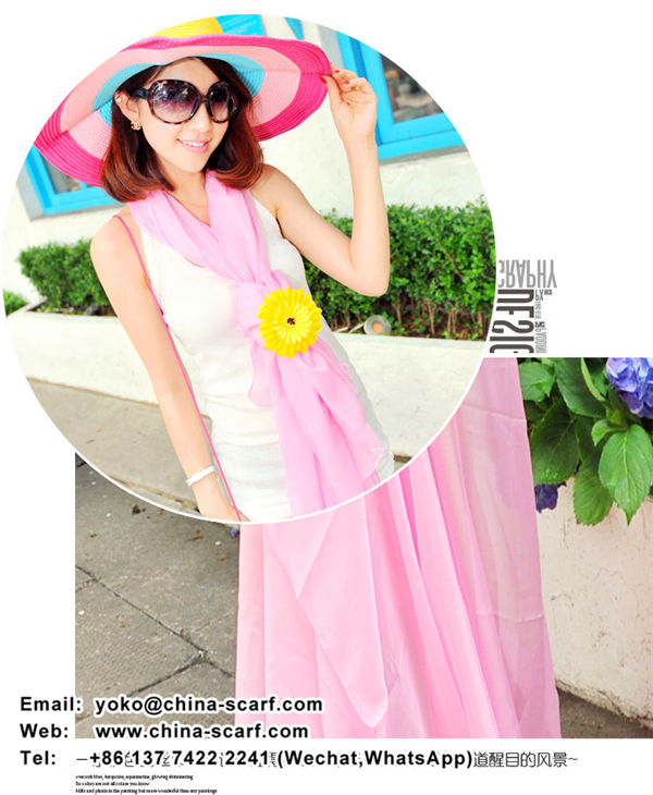 Summer chiffon 2m length beach towel solid color scarves Korean fashion candy color scarf shawl factory wholesale, www.china-scarf.com