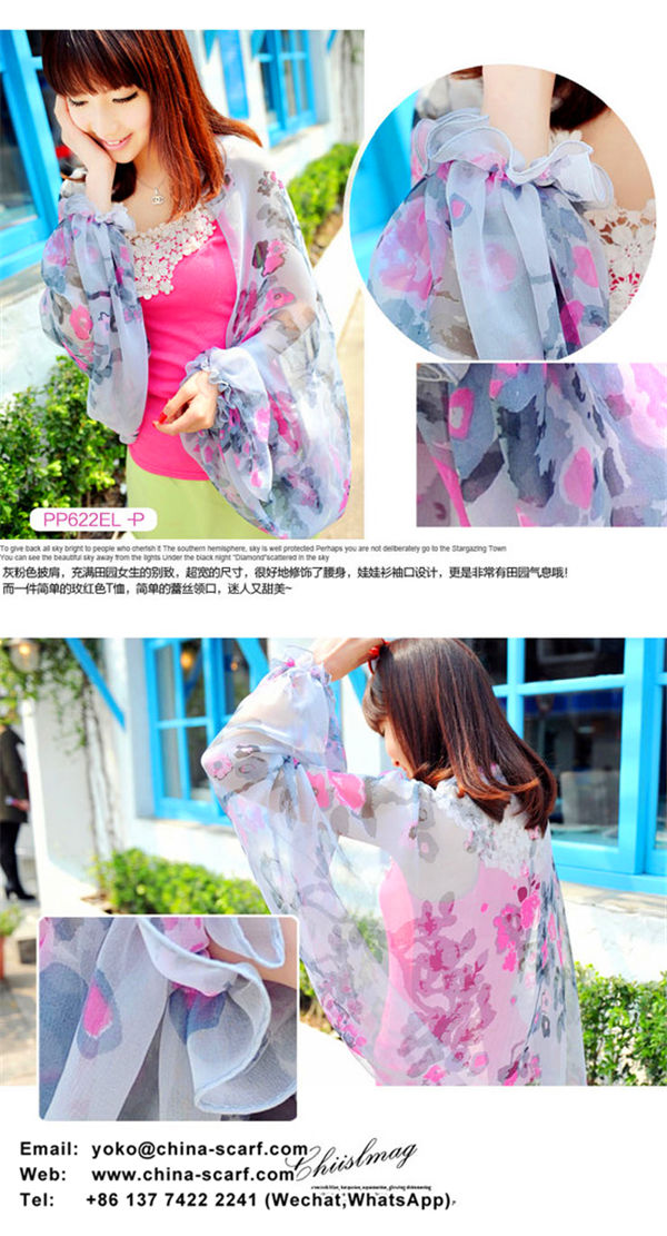 Summer driving ride sun protection shawl long-sleeved multifunctional anti - UV chiffon scarves beach towel, www.china-scarf.com