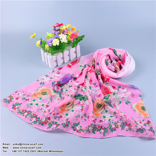 Summer silk roses Korean long section sun protection fashion Scarf wholesale, www.china-scarf.com