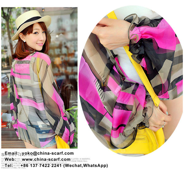 Summer sun protection shawl Chiffon refreshing breathable scarves Wholesale, www.china-scarf.com