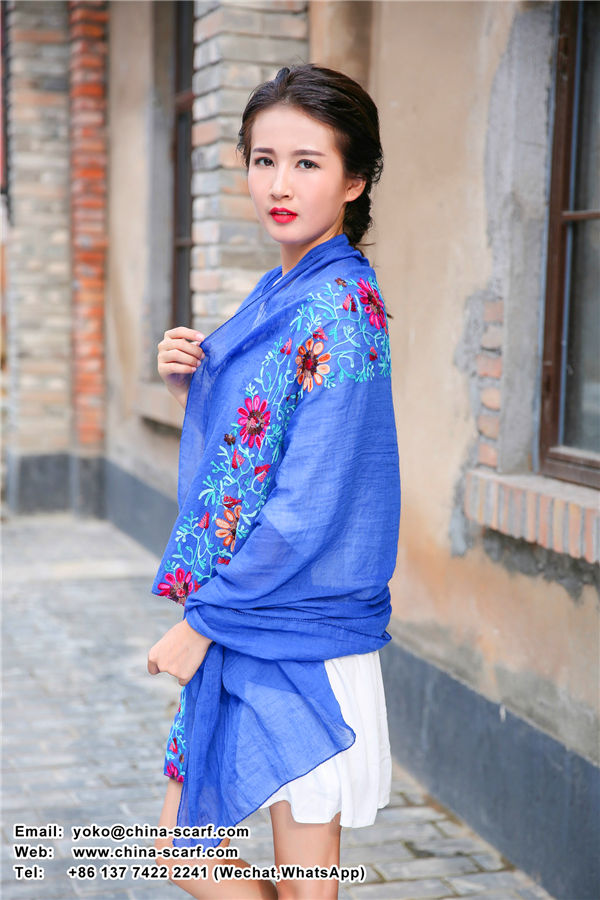 Winter cotton and linen National Artistic Style sun protection embroidery scarves wholesale, www.china-scarf.com