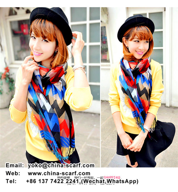 autumn and winter colored cashmere plaid extra long shawl fringed scarves, www.china-scarf.com