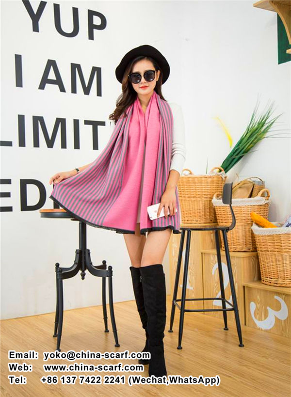 autumn and winter high - grade sided cashmere Europe Stripe keep warm thickening Scarf, www.china-scarf.com