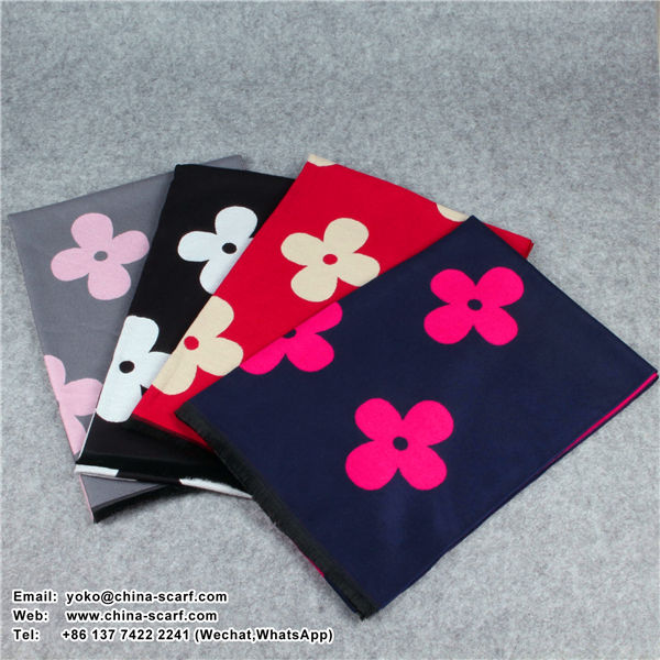 autumn and winter high - grade sided cashmere flowers thickening Scarf keep warm shawl dual air conditioning factory outlets, www.china-scarf.com