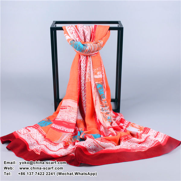 autumn and winter keep warm retro Roman style geometric painting large Scarf factory wholesale, www.china-scarf.com