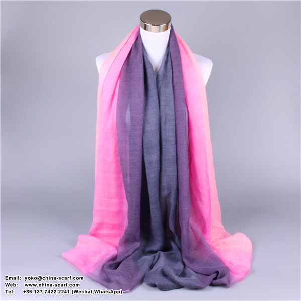 autumn and winter warm Scarf cotton and linen large beach shawl Scarf gradient color factory wholesale, www.china-scarf.com