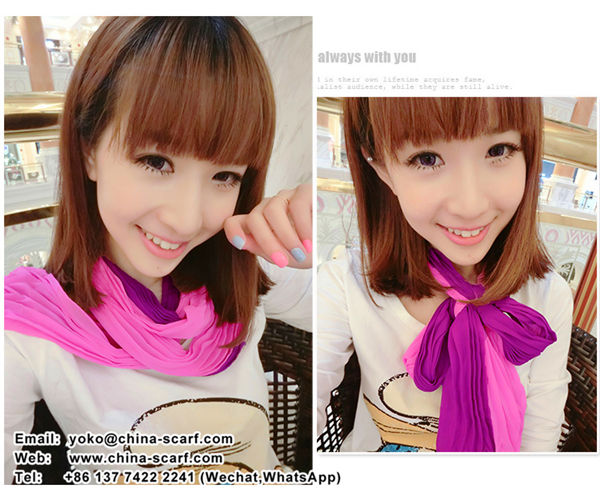autumn winter solid color chiffon wrinkled scarves fashion mixed colors long section scarf wholesale, www.china-scarf.com
