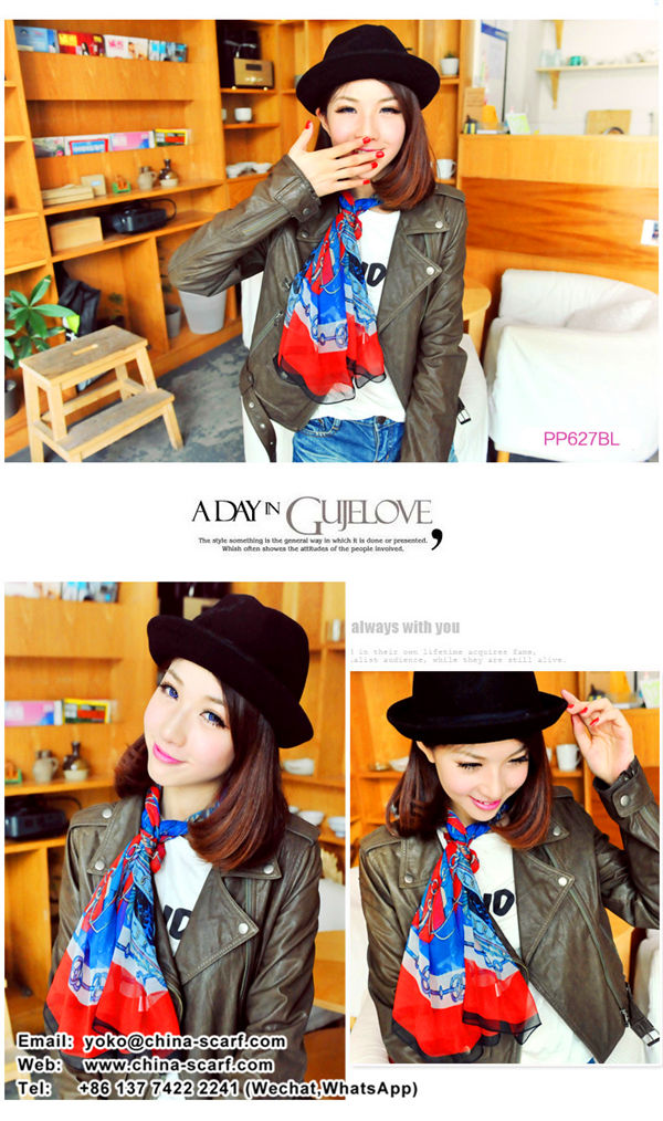 new European and American fashion chiffon scarves long street Skull chains scarf wholesale, www.china-scarf.com